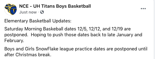 Sat. Morning Basketball is postponed till Jan.