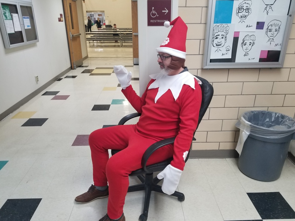Mr. Flaten as Norman The Elf Greeting Kids all Week