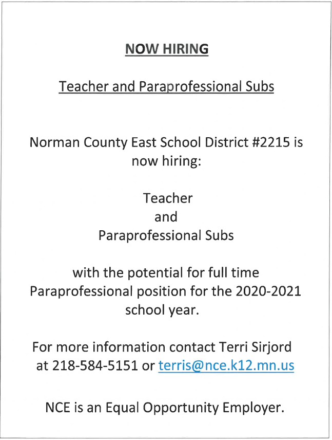 Teacher and Para Subs Help Wanted